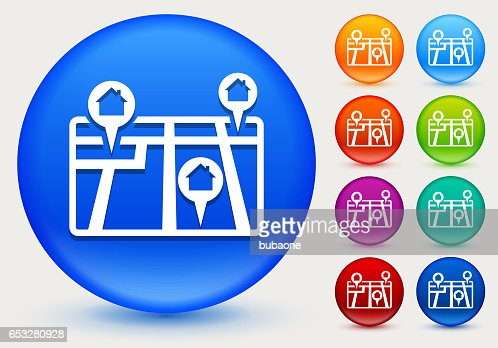 Real Estate Map Icon on Shiny Color Circle Buttons : Vector Art
