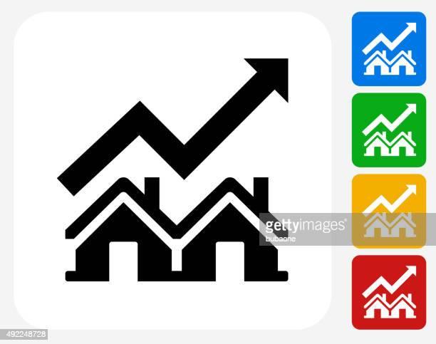 Real Estate Market Increase Icon Flat Graphic Design