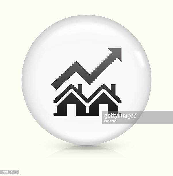 Real Estate Market Increase icon on white round vector button