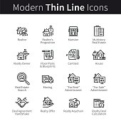 Real estate realtor deals full icon set. For sale and rent signs. House floor plans, keychain, realty calculator and more. thin black line art. Linear style illustrations isolated on white.