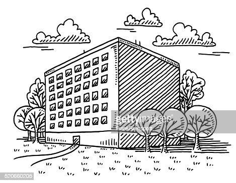 Real Estate Residential Building Drawing Vector Art