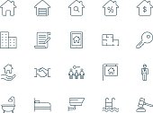 Real estate set of vector icons linear style