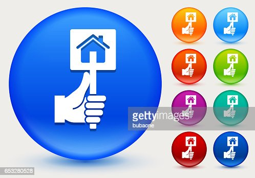 Real Estate Sign Icon on Shiny Color Circle Buttons : Vector Art