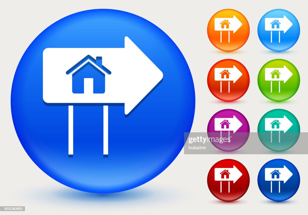 Real Estate Sign Icon on Shiny Color Circle Buttons : Vektorgrafik