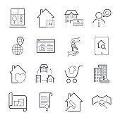 Real estate thin line art icons set. Residential and commercial building deals. Linear style symbols isolated on white. Icon set with editable stroke. EPS 10