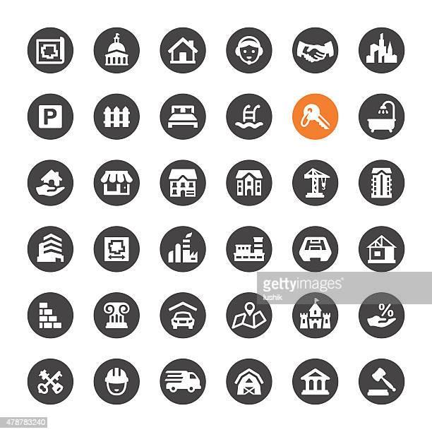 vector iconos de bienes raíces
