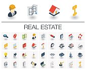 Isometric flat icon set. 3d vector colorful illustration with real estste symbols. Agent, house, rent, key, apartment, sale, search, commercial and equipment colorful pictogram Isolated on white