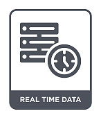 real time data icon vector on white background, real time data trendy filled icons from General collection