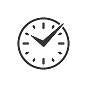 Real time icon in flat style. Clock vector illustration on white isolated background. Watch business concept.