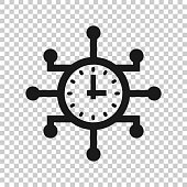 Real time icon in transparent style. Clock vector illustration on isolated background. Watch business concept.