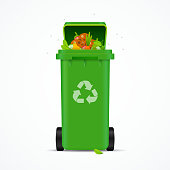 Realistic 3d Detailed Recycled Garbage Bin and Trash Isolated on White Background. Vector illustration of Green Container and Rubbish