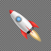 Realistic 3d Detailed Rocket Space Ship on a Transparent Background Symbol of Business Start Up. Vector illustration