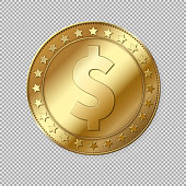 Realistic 3d gold dollar coin isolated on transparent background. Vector illustration