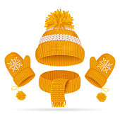 Realistic 3d Yellow Hat with a Pompom, Scarf and Mitten Set Knitted Seasonal Winter Traditional Accessories with Ornament Vector illustration