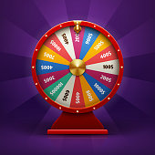 Realistic 3d spinning fortune wheel, lucky roulette vector illustration. Round wheel fortune, lucky gamble spin wheel game