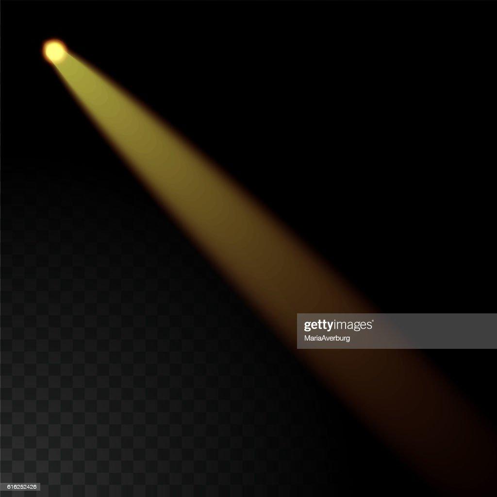 Feixe realista luzes sobre fundo transparente. : Arte vetorial