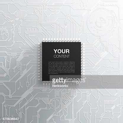 Realistic black microchip on detailed printed circuit board design : stock vector