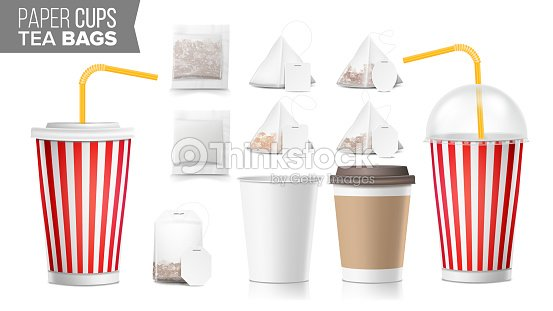 realistic blank ocher paper cups vector tea bags mock up coffee cup