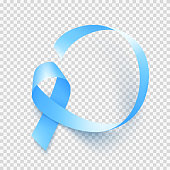 Realistic blue ribbon over transparent background, world prostate cancer day symbol in november, vector illustration. Template for poster for prostate cancer awareness month.