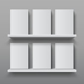 Realistic bookshelf with books. Library shelf mockup, modern office bookcase, plywood wall shelf 3D vector design template
