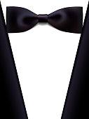 realistic bow tie a tuxedo, vector illustration