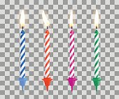 Realistic burning birthday cake candles set isolated on transparent checkered background. Vector illustration