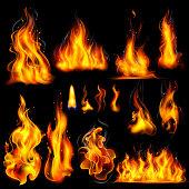 illustration of Realistic Burning Fire Flame on black background