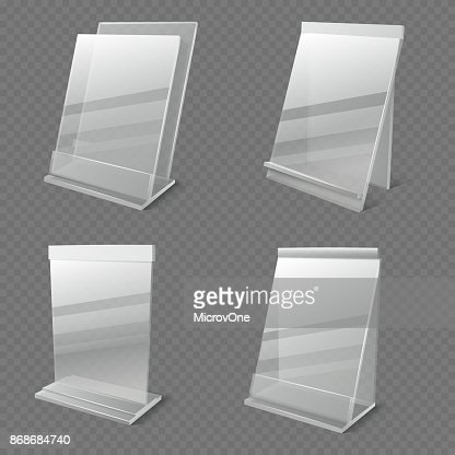 Realistic business information transparent plexiglass empty holders isolated vector : stock vector