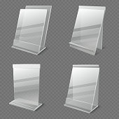 Realistic business information transparent plexiglass empty holders isolated vector. Plastic plexiglass empty holder for card or menu illustration