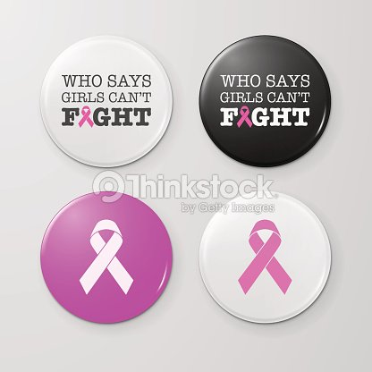 Realistic Button Badges With Cancer Theme Inscription And Pink