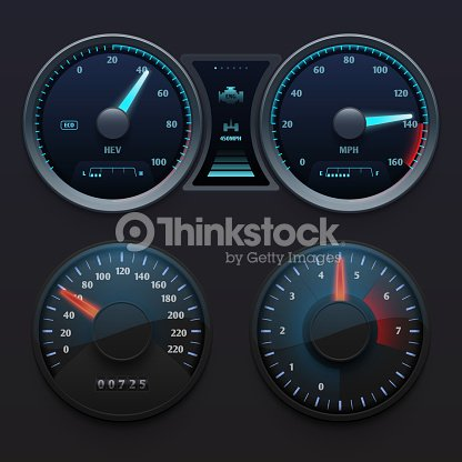 Realistic Car Dashboard Speedometers With Dial Meter Rapid Symbols