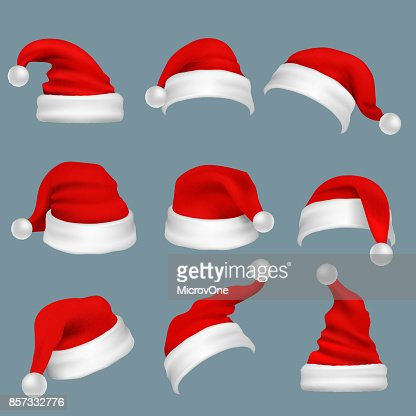 Realista Navidad sombreros de santa claus rojo aislaron conjunto de vectores : Arte vectorial