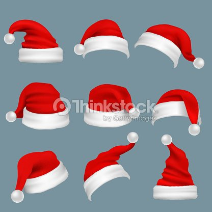 c4fdfee2abb00b Realistic Christmas Santa Claus Red Hats Isolated Vector Set stock ...