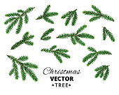 Christmas tree branches isolated on white background. Realistic vector fir tree, pine tree. Easy to create frames, borders, wreaths. Great for christmas cards, banners, flyers, party posters.