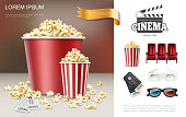 Realistic cinema and movie composition with popcorn in red buckets clapper comfortable seats tickets and 3d eyeglasses vector illustration