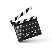 Realistic clapper.cinema.Board on a white background.film.time.vector illustration.