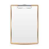 Realistic Clipboard Vector. A4 Size. Top View. Isolated Illustration