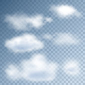Realistic clouds in the blue sky on a transparent background. Vector