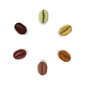 Realistic coffee beans of different colors placed in circle with place for text, isolated on white background, vector illustrationRealistic coffee beans of different colors placed in circle with place