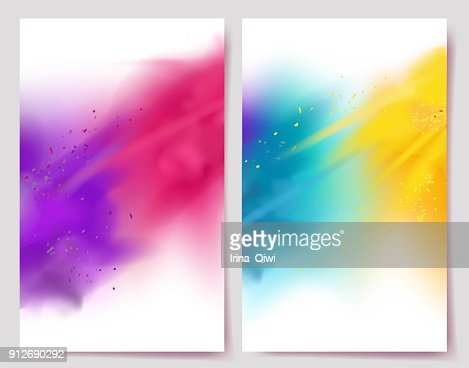 Realistic colorful paint powder explosions on white background. : Arte vetorial