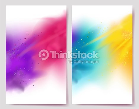 Realistic colorful paint powder explosions on white background. : stock vector