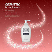 3D realistic cosmetic bottle ads template. Cosmetic brand advertising concept design with glittering dust background.