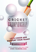 Realistic Cricket bat and white ball on sky blue background. Cheering font for Live Stream Cricket Championship poster or flyer design with web details.