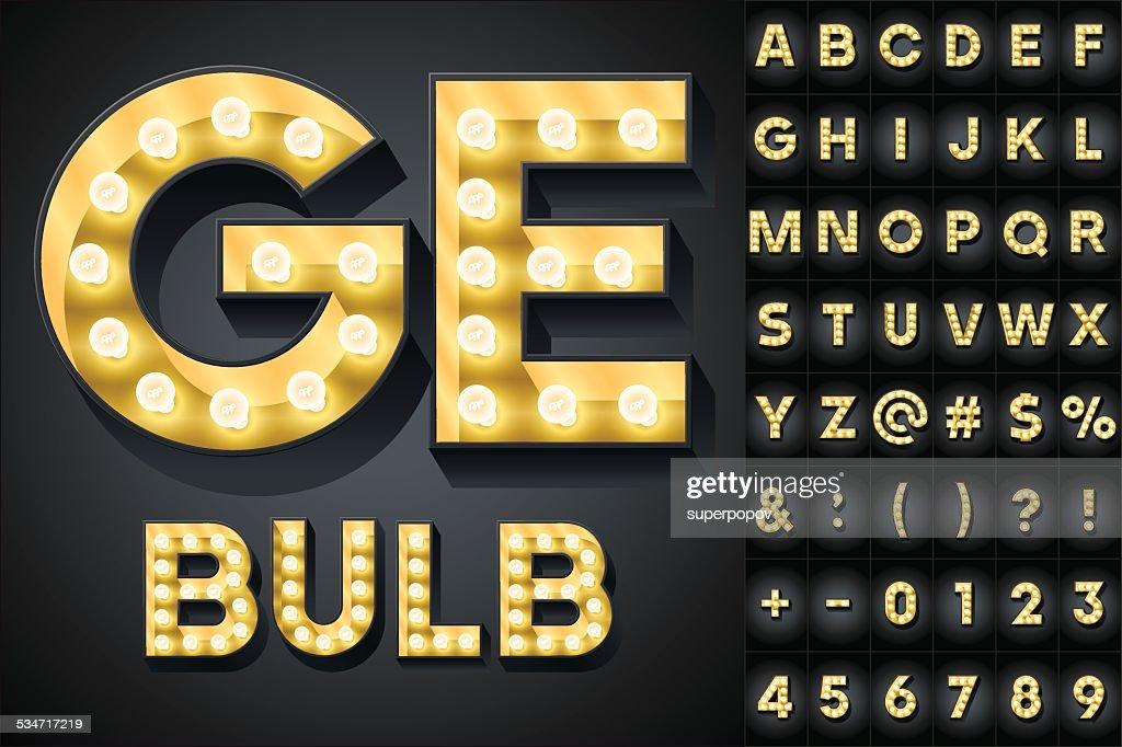 Realistic dark lamp alphabet for light board