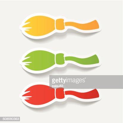 realistic design element: broom : Vector Art