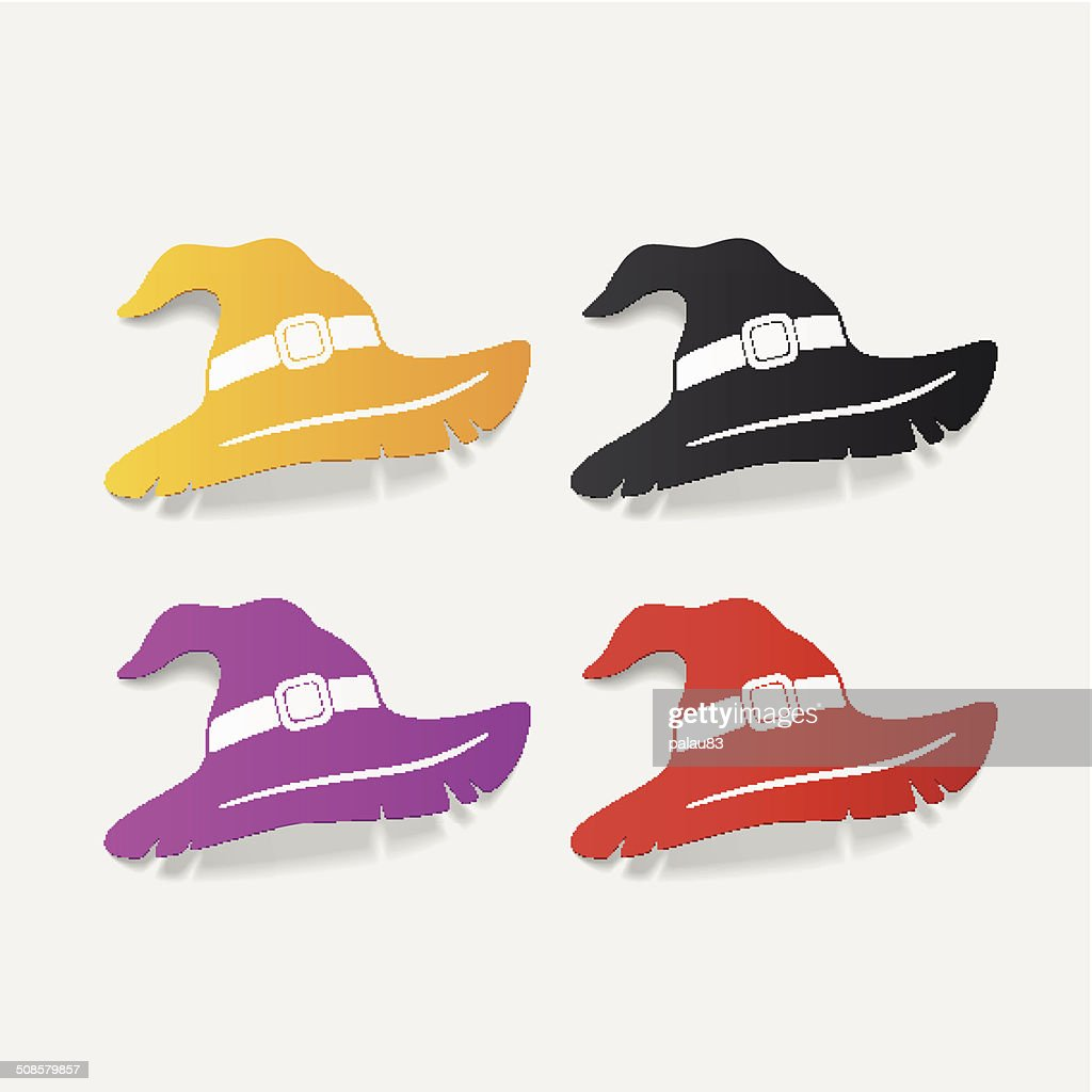 realistic design element: witch hat : Vector Art