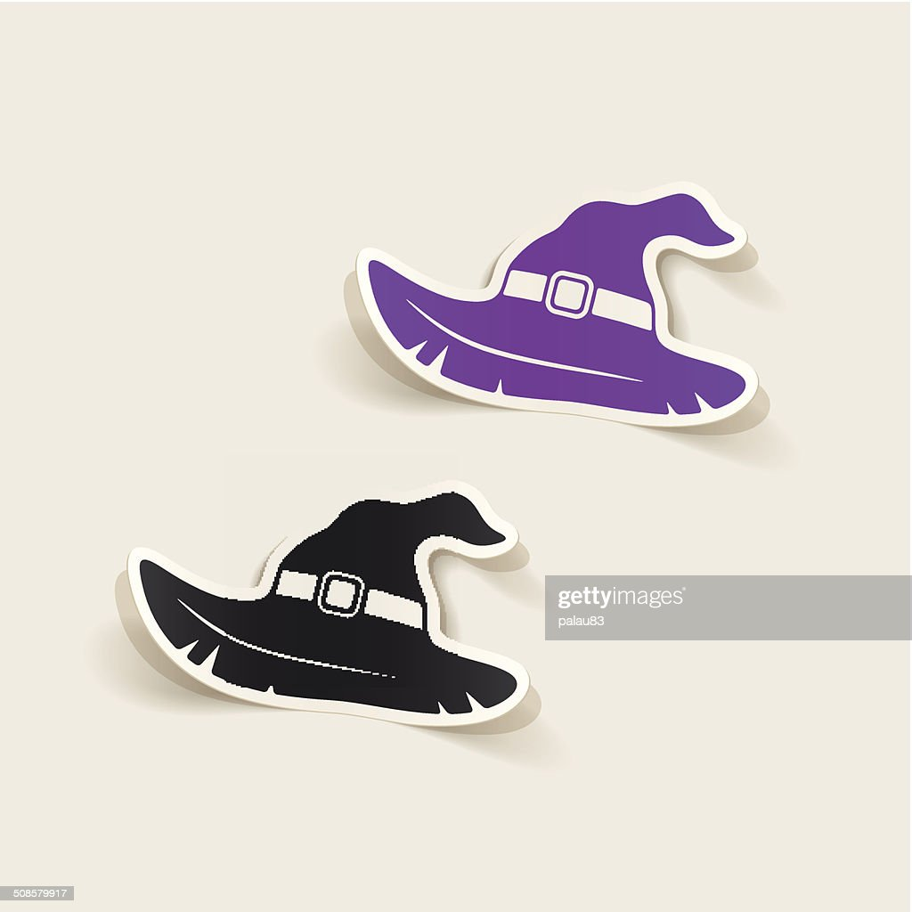 realistic design element: witch hat : Vector Art