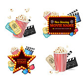Realistic Detailed 3d Cinema Set Include of Ticket, Popcorn, Camera and Clapboard. Vector illustration of Movie Film Elements