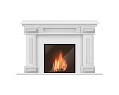 Realistic Detailed 3d Classic Fireplace Isolated on White Background Traditional Decoration Interior Symbol of Hearth. Vector illustration of Comfort