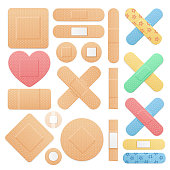 Realistic Detailed 3d Color Aid Band Plaster Medical Patch Set on a White. Vector illustration of Sticky Note